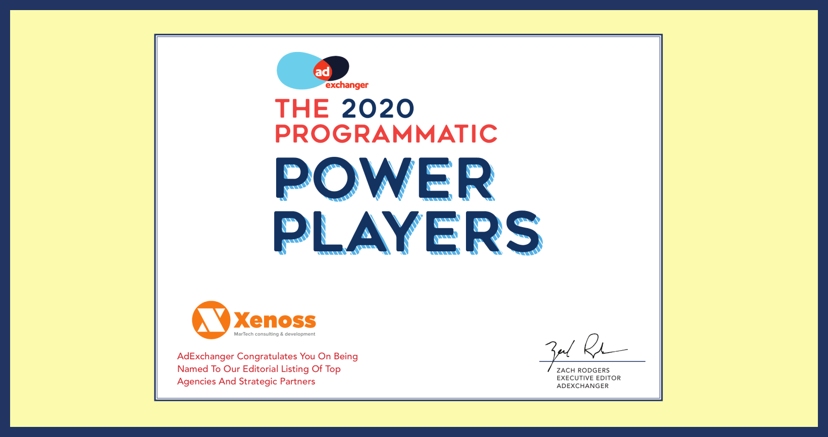 Xenoss - 2020 AdExchanger Programmatic Power Players